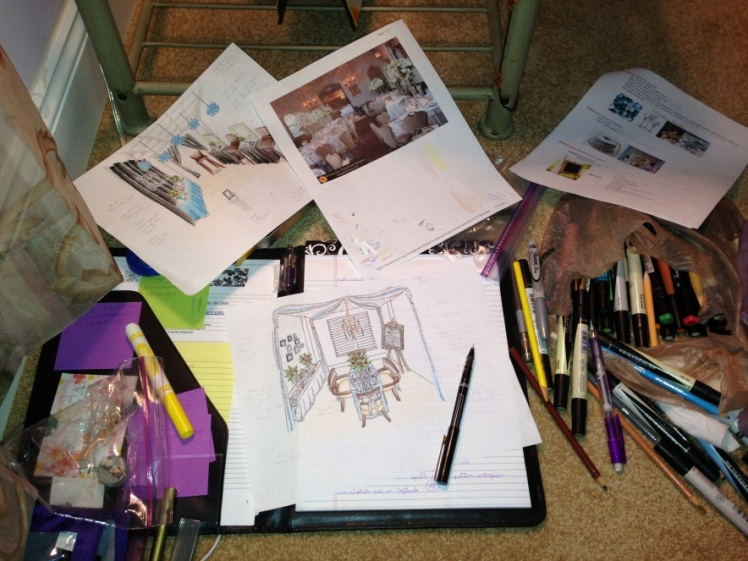 A behind the scenes look of the process and materials. (pencil, pen, markers, color pencils, & more)