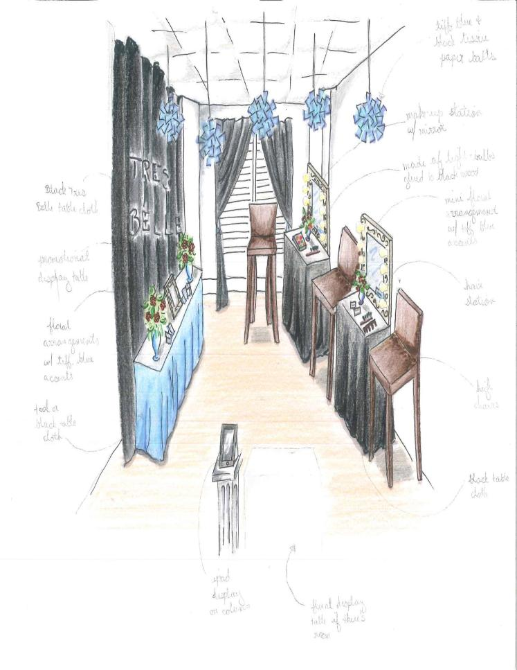 "Rendered Drawing of Tres Belle's Room #2, ""TBB Studios"""