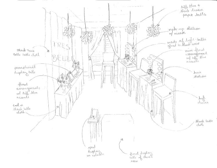 "Sketch of Showroom 2 called ""TBB Studios"", which is catered to display Tres Belle's services of Hair & Make-up, photography, and videography services."